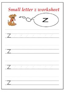 letter z worksheet for kindergarten - Practice tracing Line letter z worksheets for 1st grade