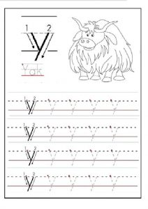 lowercase letter y tracing worksheet for 1st grade