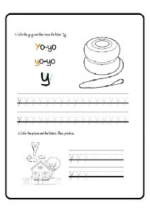 lowercase letter y tracing worksheet for preschoolers