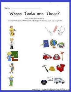 match community helpers worksheets for preschool