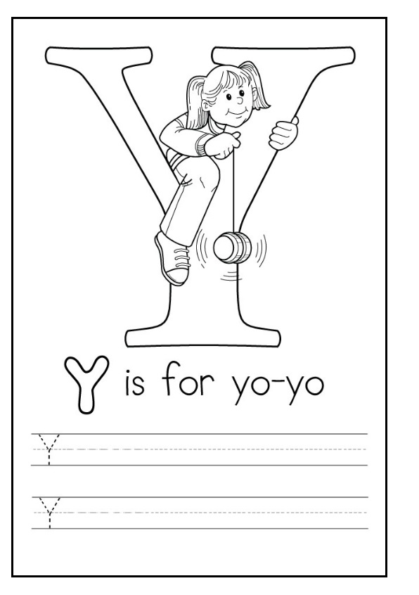 printable uppercase letter Y practice for preschooler