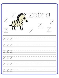 worksheet of small letter z