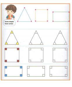 Corners of the shapes worksheet for preschool and kindergarten