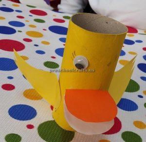 Duck craft ideas for preschool - Toilet roll paper duck craft