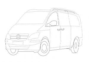Free printable tracing line - Van trace line worksheet