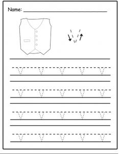 Lowercase letter v tracing sheet