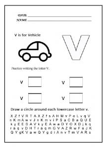 Lowercase letter v worksheet - practice lowercase letter v
