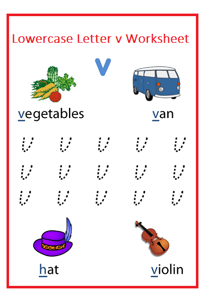 Lowercase letter v worksheets for Kindergarten