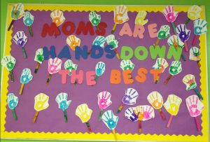 Mother's day hand print themed bulletin board ideas for preschool