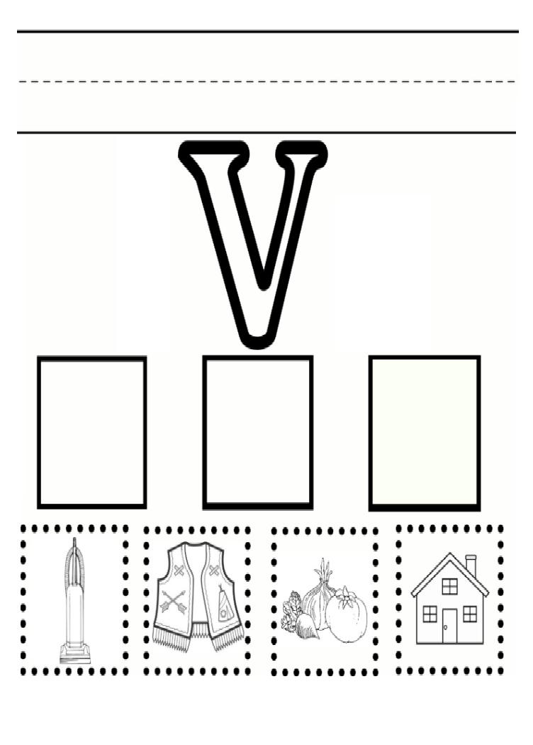 Practice Uppercase letter V worksheet for kindergarten Preschool