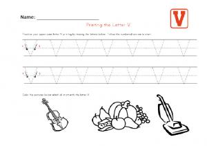 Practice upper case letter V worksheet