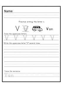 Printable uppercase letter v worksheet for kindergarten