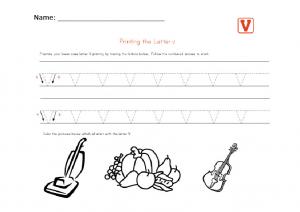 Printin the lower case letter v worksheet