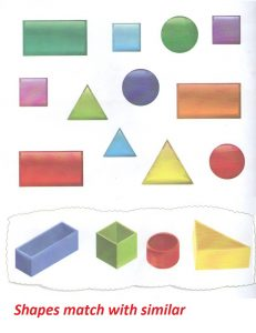 Shapes match worksheet for preschooler and kindergartners