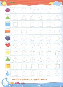 Shapes trace line worksheet for preschool - dot to dot shapes for kindergarten