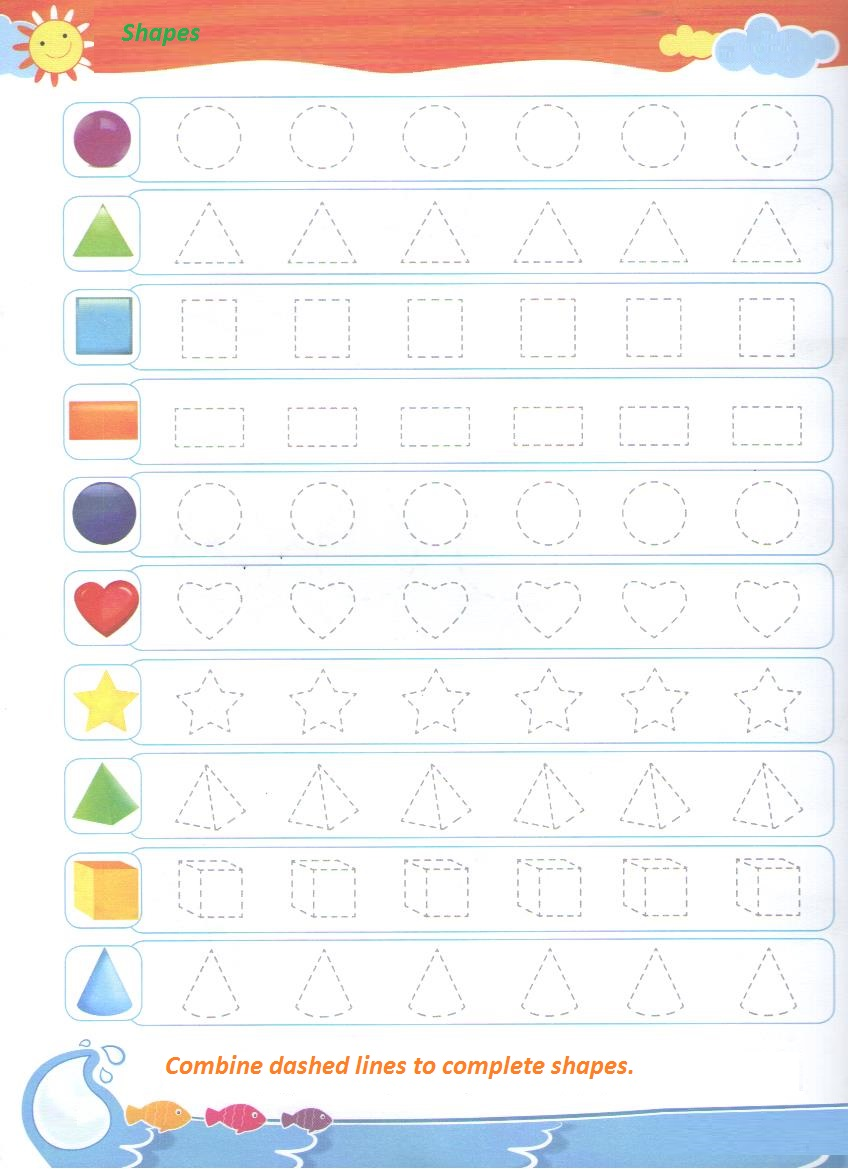 Workbooks shapes tracing worksheets preschool : Shapes trace line worksheet for preschool - dot to dot shapes for ...