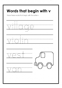 Trace theese words that begin with the lowercase letter v