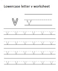 Tracing lowercase letter v worksheet for kindergarten
