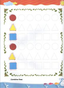 Tracing shapes worksheet for preschool and kindergarten - Free printable dot to dot shapes