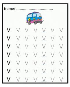 Uppercase V is for Van Letter Tracing Sheet