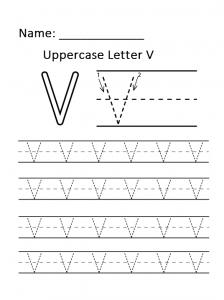Uppercase alphabet letter v worksheet for preschool