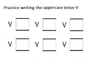 Uppercase letter V practice writing - free printable
