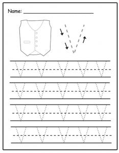 Uppercase letter V tracing sheet