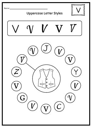 Uppercase letter v worksheet for kids Preschool Crafts