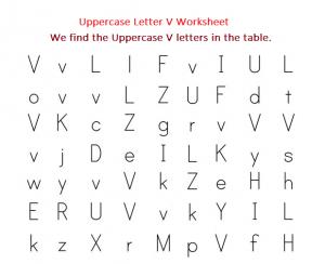 We Find Uppercase V Letters worksheet