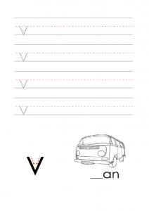 Write the lowercase letter v alphabet worksheet
