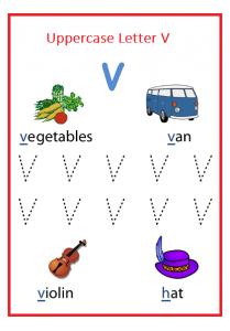 Writing Uppercase Letter V Worksheet