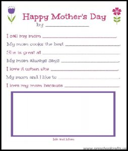 free mothers day worksheets