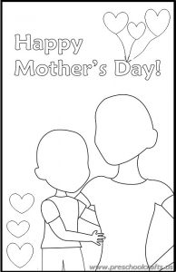 happy mothers day drawing worksheets for kids