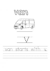 lowercase letter v is for van