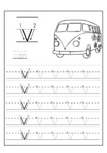 lowercase letter v worksheet - v is for van