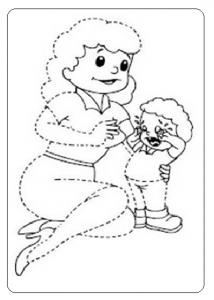 momy and baby tracing worksheet for preschool and kindergarten