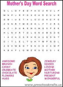 mothers day search word worksheets for first grade