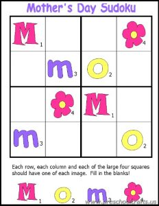 mothers day sudoku workpages for kids