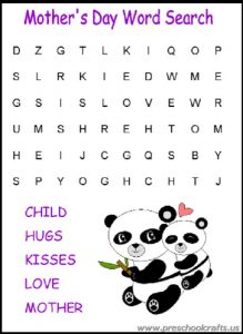 mothers day word search mazes kids worksheets