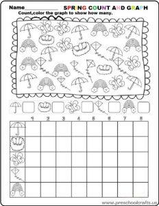 preschool spring graph worksheets