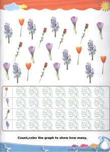 spring flowers graph colored worksheets