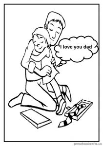Happy Father's Day Coloring Page for Preschool and Kindergarten