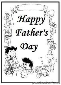 Happy Fathers Day Coloring Page for Preschool and Kindergarten