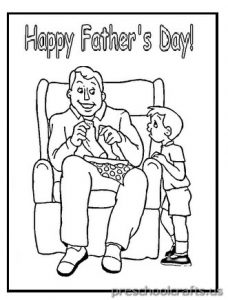 Happy Fathers Day Coloring Pages for Pre-school and Kindergarten