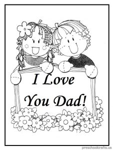 I Love You Dad Coloring Pages for Preschool and Kindergarten