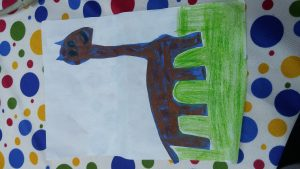 Giraffe craft toilet paper roll for kindergarten