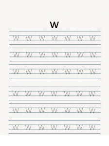 Lowercase letter w free printable worksheet