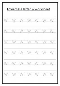 Lowercase letter w worksheet for 1st grade