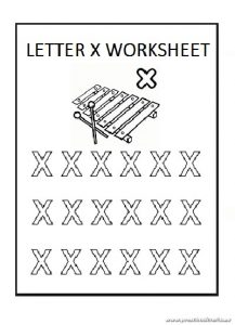 Lowercase letter x coloring sheet for preschool