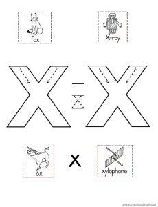 Lowerercase letter x worksheet for kindergarten